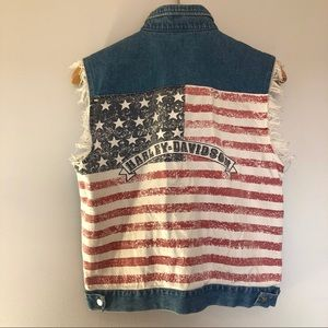 Harley Davidson American Flag Denim Vest